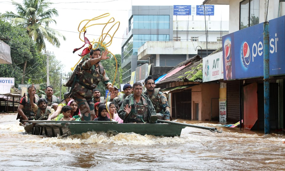 Thousands displaced by flooding in Kerala, India